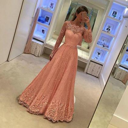 Long Sleeves Lace Prom Dress,Pink L..