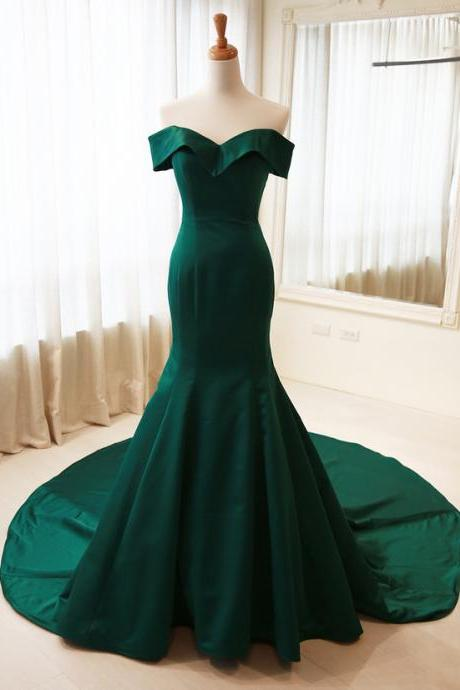 Mermaid Sexy Off Shoulder Sleeves Dark Green Evening Dress, Prom Dresses 2018