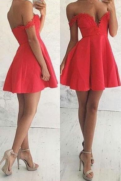 Sexy Off Shoulder Sleeves Homecoming Dress,Orange Red Homecoming Dress,Short Prom Dress,Sexy Orange Red Graduation Dress
