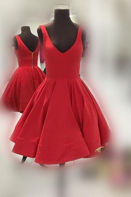 Red Homecoming Dress,V-neckline Party Dress,Short Red Prom Dress,V-back Red Graduation Dress