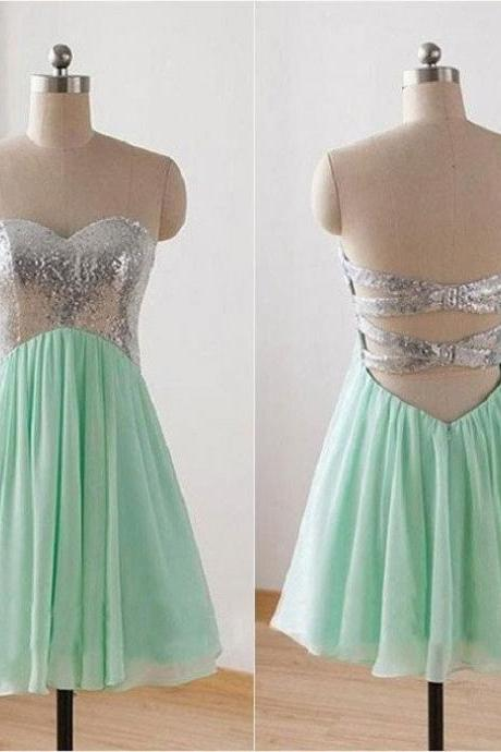 Mint Green Homecoming Dress,Sequins Prom Dress,Short Mint Green Graduation Dress