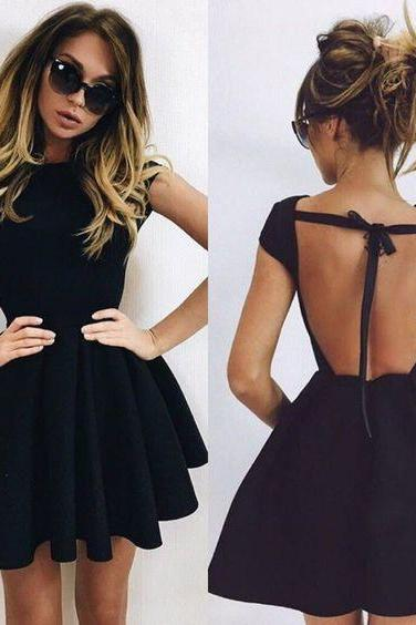 Sexy Open Back Homecoming Dress,Little Black Dress,Open Back Prom Dress,Black Graduation Party Dress