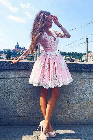 Short Ball Gown Lace Homecoming Dress,Short Long Sleeves Prom Dress,Pink Graduation Dress,Long Sleeves Lace Party Dress
