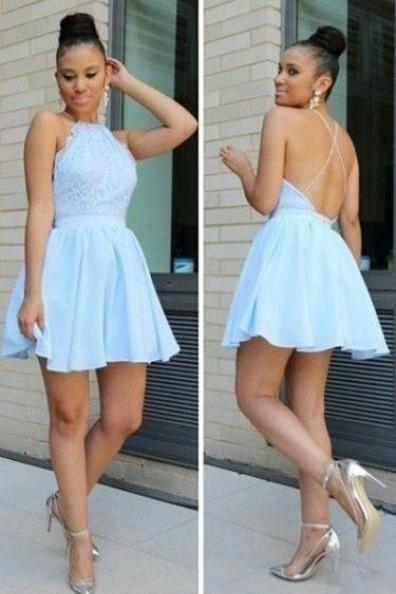 Open Back Prom Dress,Ice Blue Homecoming Gown,Sexy Short Prom Dress,Short Lace Homecoming Dress