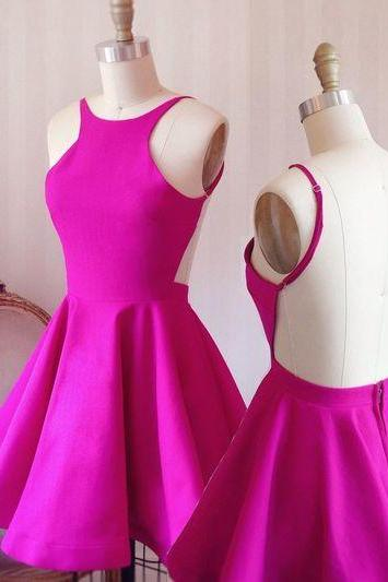Open Back Homecoming Dress,Sexy Short Prom Dress,Fuchsia Party Dress,Short Open Back Graduation Dress