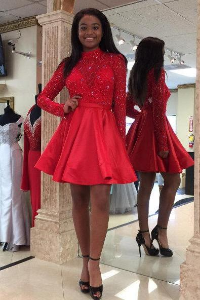 Red Party Dress,Short Red Prom Dress.Long Sleeves Lace Homecoming Dress