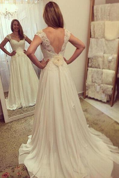 V-back Wedding Dress,Simpe A line Chiffon Bridal Dress