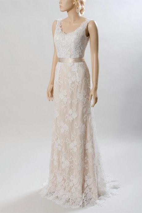 Champagne Sleeveless V-Neck Lace A-line Wedding Dress Featuring V-Back