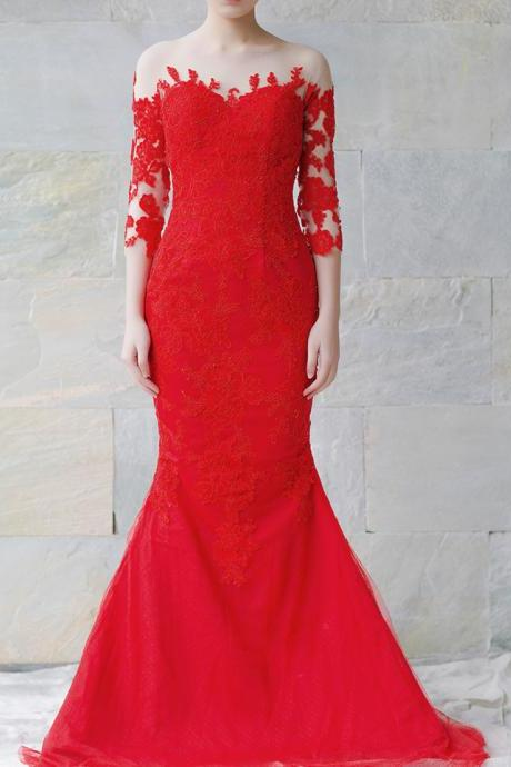Mermaid Long Sleeves Red Lace Wedding Dress,Sexy Mermaid Illusion Lace Bridal Dress