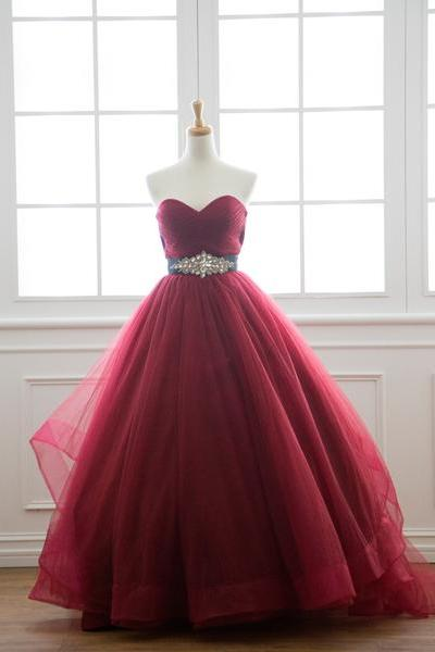 Ball Gown Burgundy Wedding Dress,Sweetheart Neckline Colorful Bridal Dress,Discount Wedding Gown,Burgundy Ball Gown Prom Dress