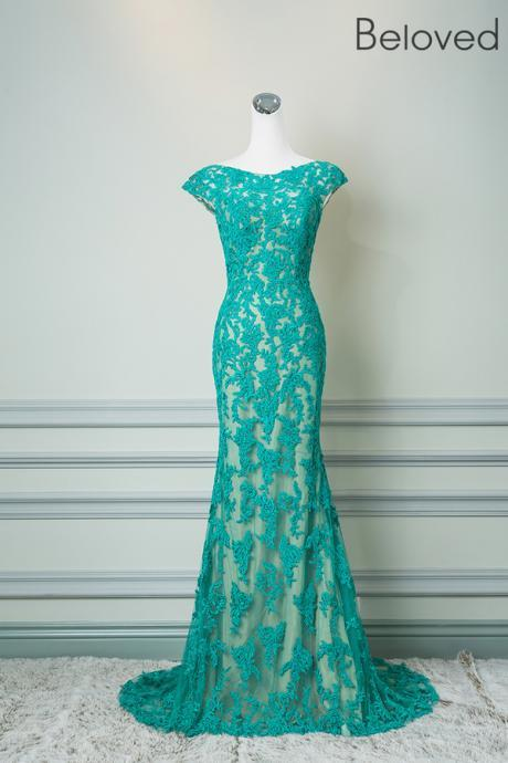 Cap Sleeves Lace Evening Dress,Green Lace Wedding Guest Dress,Mermaid High Quality Lace Formal Dress