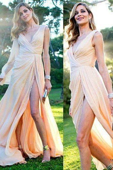 Sexy Slit Evening Dress,Light Champagne Formal Party Dress,Sexy Light Champagne Prm Dress