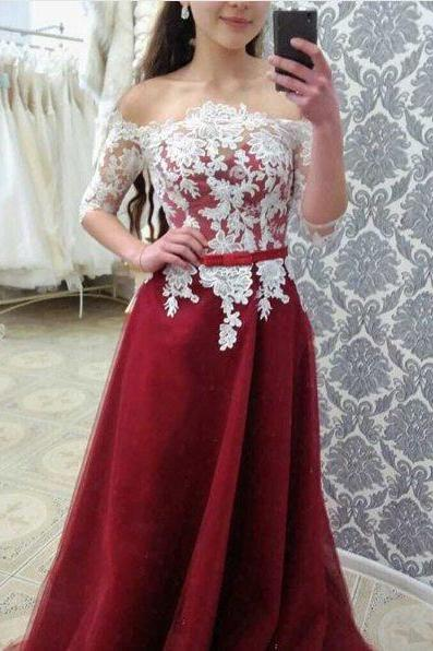 Off Shoulder Half Sleeves Lace Prom Dress,Sexy Burgundy Bridesmaid Dress,Half Sleeves Lace Evening Dress