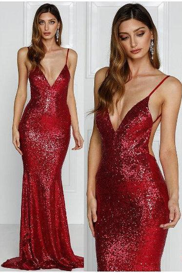 Sexy Mermaid Open Back Sequins Evening Dress,Mermaid Deep Red Sequins Prom Dress,Wine Red Formal Party Dress