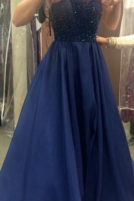 Navy Blue Prom Dress,Beaded Halter Neckline Graduation Dress,A line Open Back Prom Dress