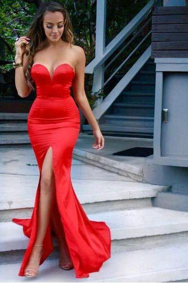 Mermaid Red Evening Dress,Sexy Slit Prom Dress,Mermaid Red Bridesmaid Dress