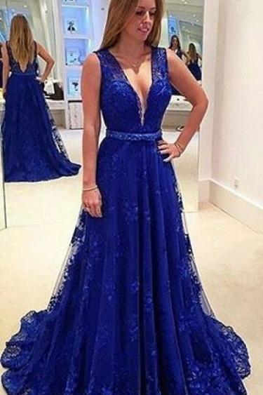 Royal Blue Evening Dress,Sexy V-back Formal Dress,Royal Blue Lace Prom Dress