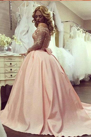 Sexy Off Shoulder Long Sleeves Lace Evening Dress,Ball Gown Blush Prom Dress,Ball Gown Sexy Off Shoulder Blush Wedding Dress