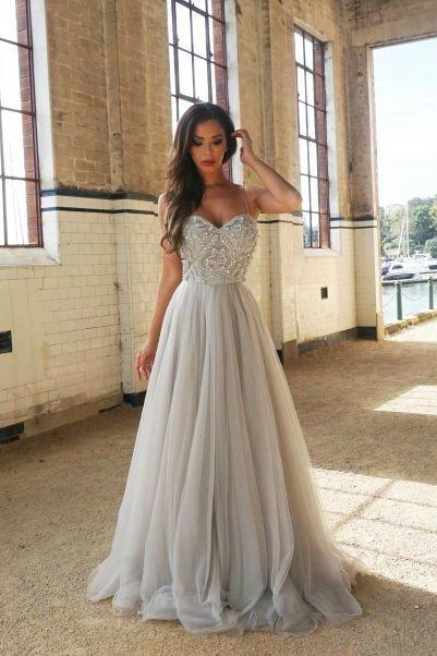 A line Spaghetti Straps Siler Tulle Prom Dress,Beaded Tulle Evening Dress,Silver Graduation Dress