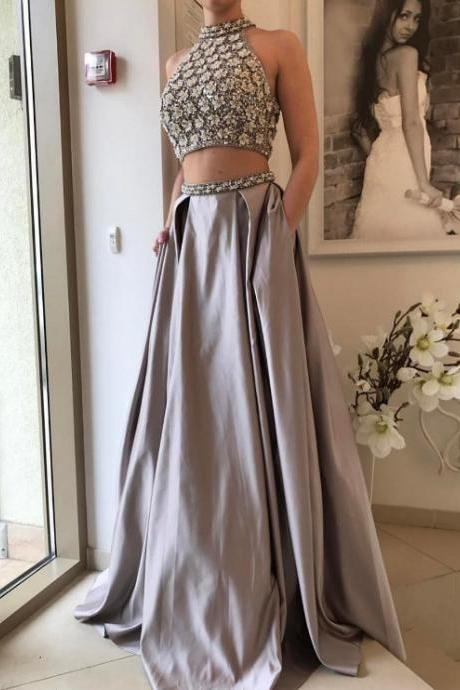 Two Piece Prom Dress,Sexy Prom Gown,Silver Beaded Graduation Dress,Halter Neckline Evening Dress