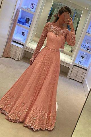 Long Sleeves Lace Prom Dress,Pink Lace Evening Dress,A line Long Sleeves Pink Lace Formal Party Dress