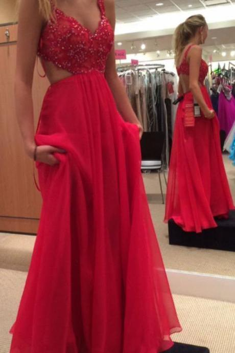 Sexy Open Back Prom Dress,Red Graduation Dress,Open Back Red Formal Party Dress