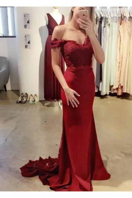 Mermaid Lace Bridesmaid Dress,Sexy Off Shoulder Sleeves Burgundy Prom Dress,Mermaid Burgundy Lace Evening Dress