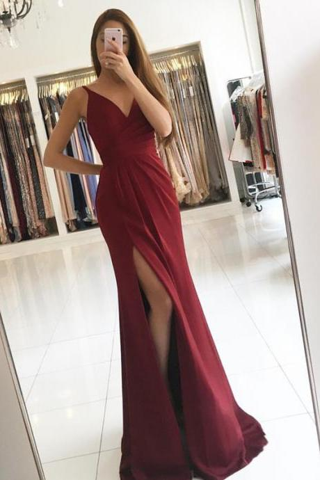 A line Slit Prom Dress,Burgundy Evening Dress,Spaghetti Straps Graduation Dress