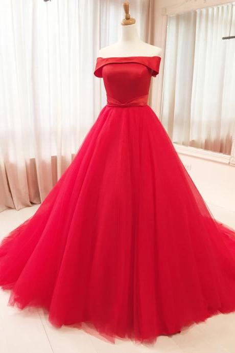 Red Wedding Dress,Sexy Off Shoulder Red Tulle Prom Dress,Red Off Shoulder Straps Evening Dress