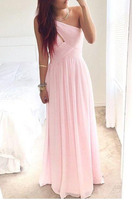 One Shoulder Pink Prom Dress,Cheap Pink Bridesmaid Dress