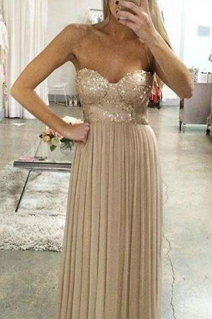 A line Strapless Chmapgne Prom Dress,Sweetheart Sequins Graduation Dress,Chmapgne Evening Dress