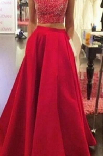 Two Piece Prom Dress,Red Party Dress,Sexy Red Graduation Dress,Open Back Party Dress