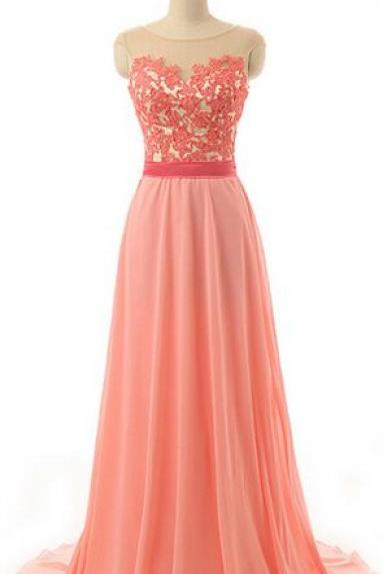 Coral Prom Dress,A line Lace Evening Dress,V-back Coral Party Dress