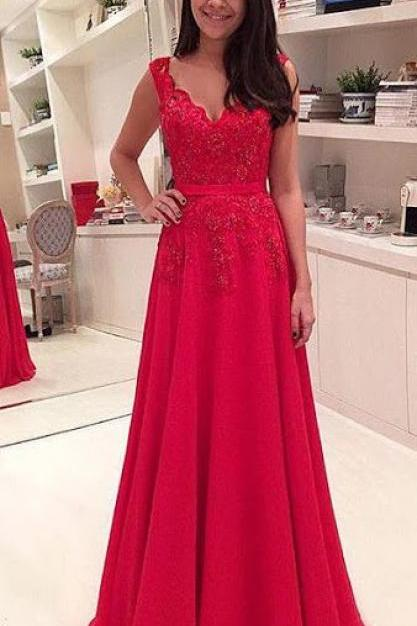 Open Back Red Prom Dress,A line Red Graduation Dress,Open Back Red Lace Bridesmaid Dress