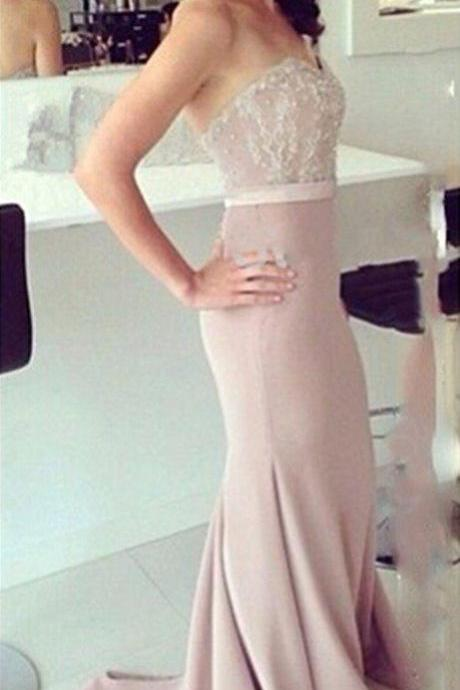 Blush Pink Sweetheart Neckline Lace and Pearl Beaded Mermaid Prom Dress, Bridesmaid Dress