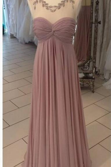 Deep Blush Crystal Embellished Illusion Neckline Ruched Prom Dress, Bridesmaid Dress