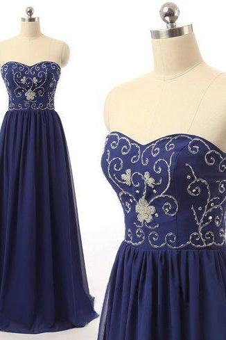 Beaded Embellished Royal Blue Sweetheart Chiffon Floor Length A-Line Formal Dress, Prom Dress