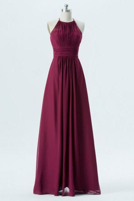 A line Purple Bridesmaid Dress,Halter Neckline Party Dress