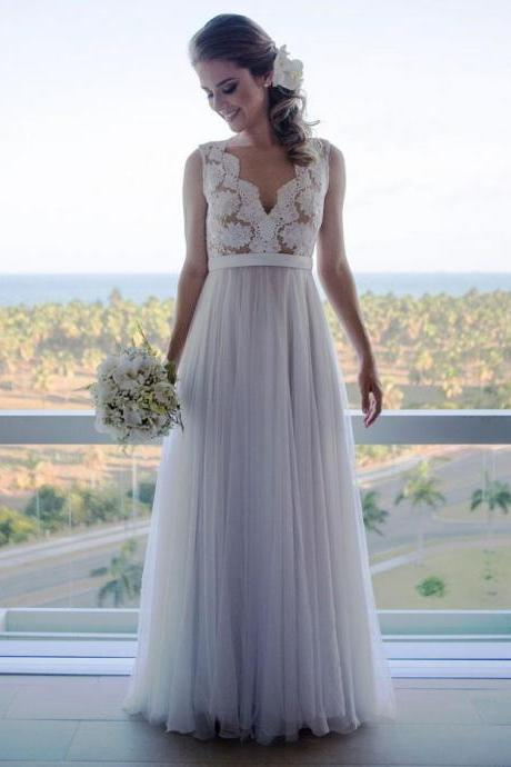 Sleepless Lace A-line Floor-Length Wedding Dress