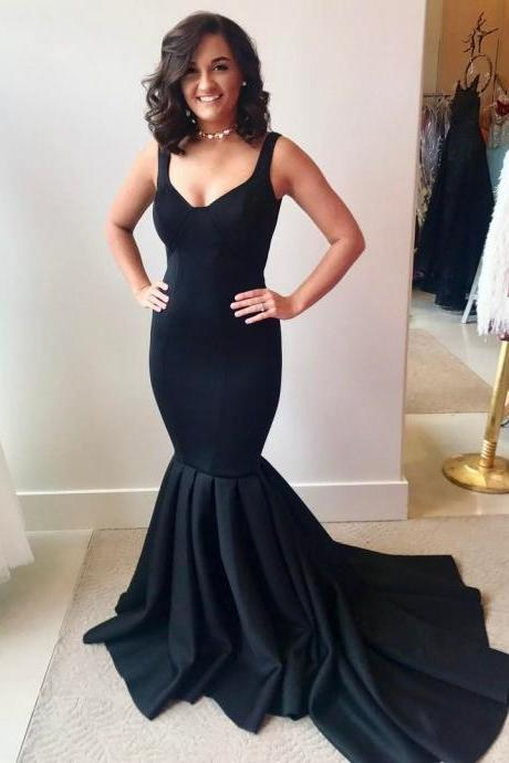 Black Satin Plunge V Shoulder Straps Floor Length Mermaid Bridesmaid Dress