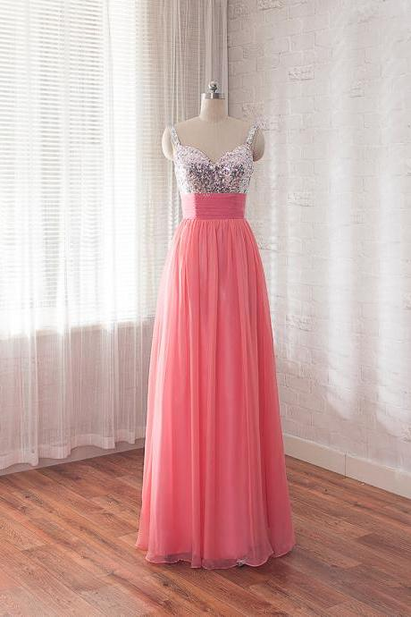 Cheap Prom Dress,Sequins Party Dress,Coral Bridesmaid Dress