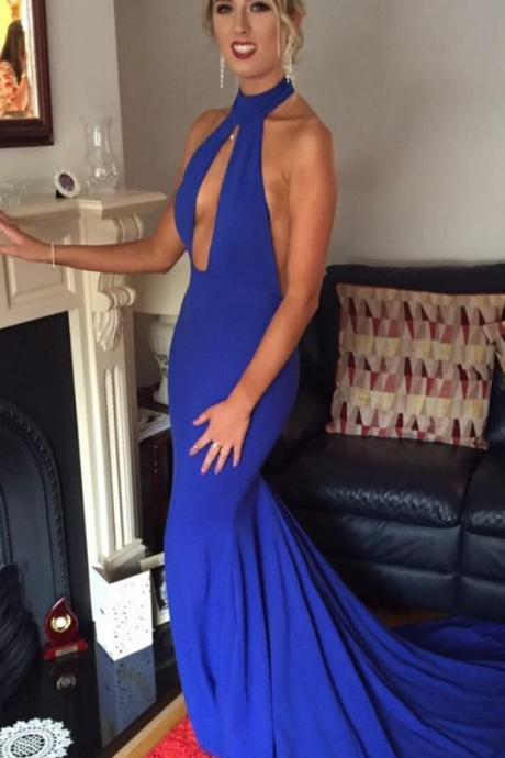 Royal Blue Prom Dress,Sexy Open Back Party Dress,Halter Neckline Evening Dress