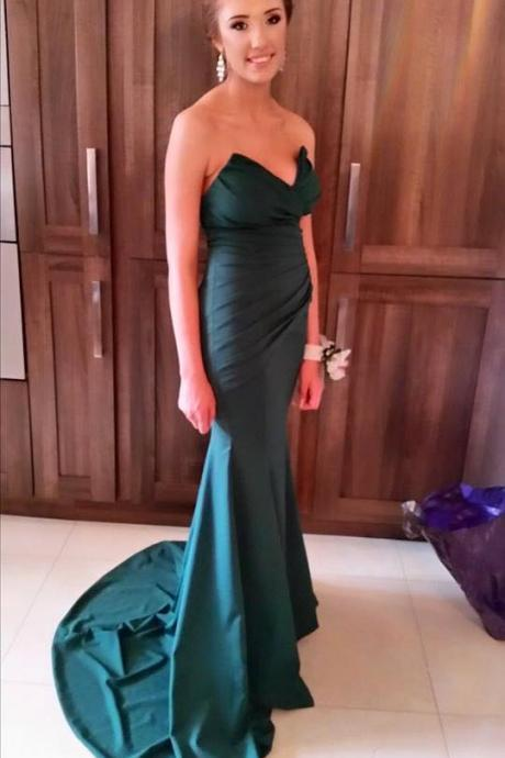 Dark Green Evening Party Dress,Mermaid Green Prom Dress,Mermaid Sweetheart Formal Dress