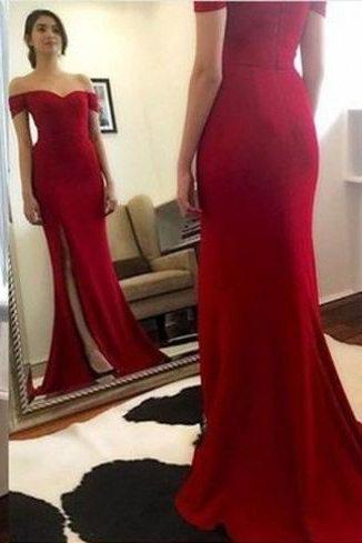 Dark Red Prom Dress,Sexy Slit Party Dress,Off Shoulder Sleeves Red Evening Dress,Sexy Deep Red Slit Prom Gown