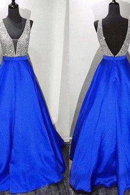 A line Royal Blue Prom Dress,Beaded Party Dress,Sexy V-neckline Formal Dress