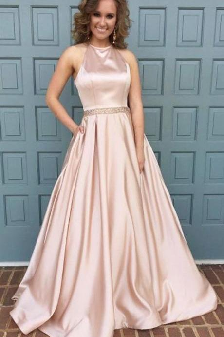 Custom Made Blush Pink Sleeveless Halter Neckline Floor Length Satin Prom Dress with Crystal Beading
