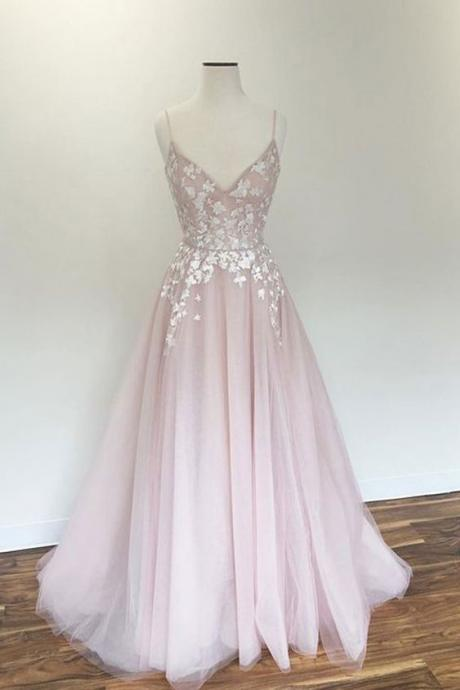 A line Spaghetti Straps Blush Wedding Dress