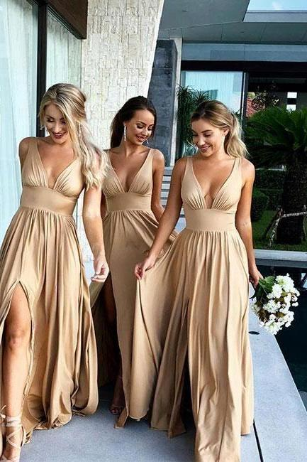 A line Slit Bridesmaid Dress,Champagne Wedding Party Dress,V-neckline Party Dress