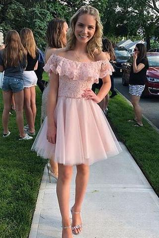 Off Shoulder Sleeves Blush Pink Homecoming Dress,Short Lace Prom Dress