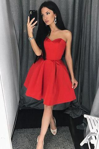 Red Homecoming Dress,Short Red Party Dresses